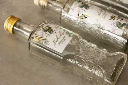 Ślubne Butelki na nalewki - Podziękowania dla Gości. Etykieta ze złotymi gałązkami w białej, zimowej kolorystyce
