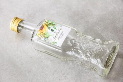 Ślubne Butelki na nalewki - Podziękowania dla Gości. Etykieta ze złotymi gałązkami i słonecznikiem