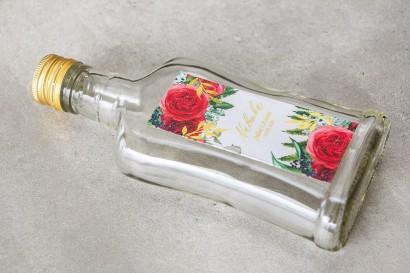 Ślubne Butelki na nalewki - Podziękowania dla Gości. Etykieta e złotymi gałązkami i bordowymi różami