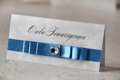Winietki na stół weselny, ślub - Amaretto nr 4 - Perłowe z eleganckim błękitem, navy blue, z cyrkonią