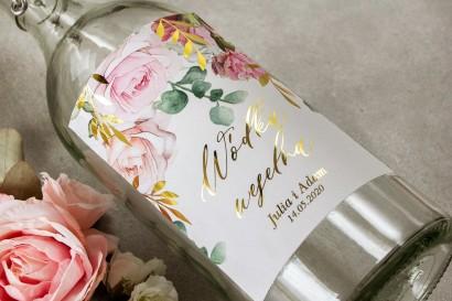 Etykiety samoprzylepne na butelki weselne na alkohol ze złotymi gałązkami w delikatnych kolorach różu i bieli