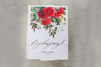 Ślubne pudełko na koperty - Front pudełka ze złotymi gałązkami i bordowymi różami