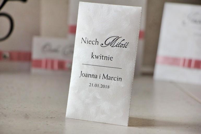 Podziękowania dla Gości weselnych - nasiona Niezapominajki - Amaretto perłowe piórka, eleganckie wesele