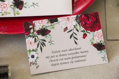 Bilecik do zaproszeń ślubnych z dodatkiem pastelowych dalii i białych anemonów