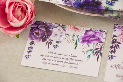 Fioletowy Bilecik do zaproszeń ślubnych z dodatkiem gałązek lawendy