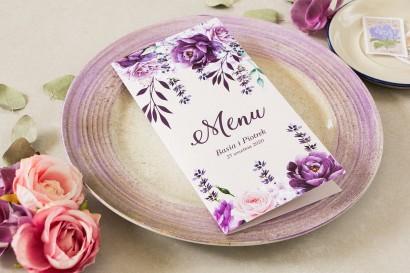 Fioletowe Menu weselne. Grafika z dodatkiem gałązek lawendy