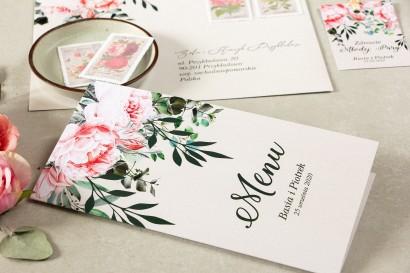 Menu weselne. Grafika z różowymi piwoniami i różami z dodatkiem gałązek eukaliptusa