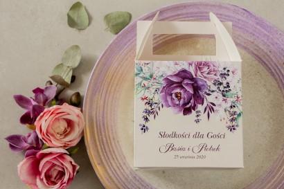 Fioletowe Kwadratowe Pudełko na Ciasto weselne z nadrukiem gałązek lawendy
