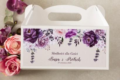 Fioletowe Prostokątne Pudełko na Ciasto weselne z nadrukiem gałązek lawendy
