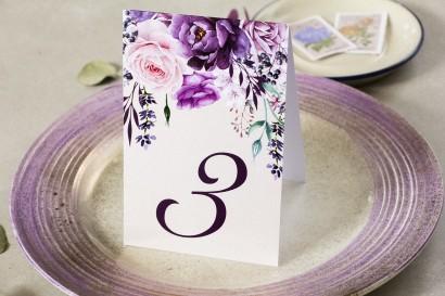 Fioletowy Numery stolików weselnych z dodatkiem gałązek lawendy