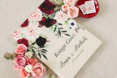 Burgundowa Ślubna, weselna Księga Gości z nadrukiem pastelowych dalii i białych anemonów