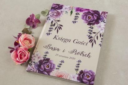 Fioletowa Ślubna, weselna Księga Gości z dodatkiem gałązek lawendy