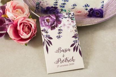 Nasiona - podziękowania, upominki dla gości weselnych z nadrukiem gałązek lawendy