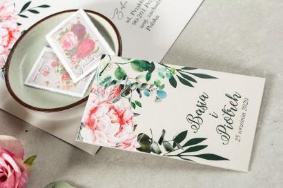 Nasiona - podziękowania, upominki dla gości weselnych różowymi piwoniami i różami z dodatkiem gałązek eukaliptusa