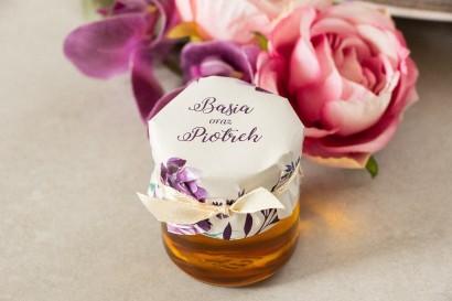 Miody - podziękowania, upominki dla gości weselnych. Kapturek z nadrukiem gałązek lawendy
