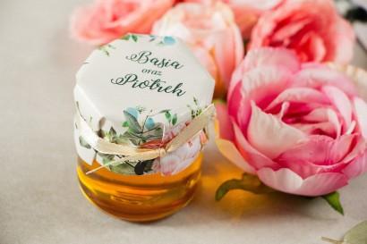 Miody - podziękowania, upominki dla gości weselnych. Kapturek z różowymi piwoniami i różami