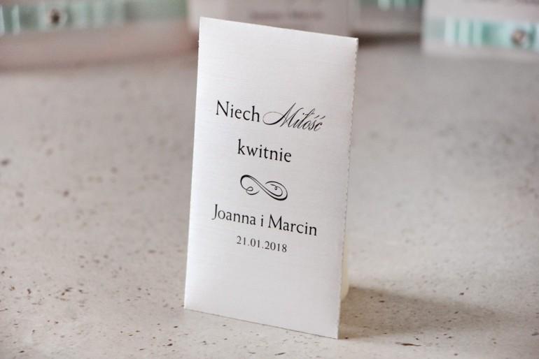 Podziękowania dla Gości weselnych - nasiona Niezapominajki - Amaretto, perłowy len, klasyczne eleganckie dodatki
