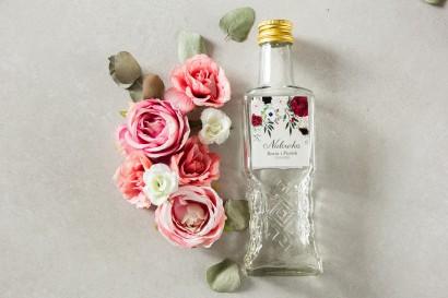 Ślubne Butelki na nalewki - Podziękowania dla Gości. Etykieta z nadrukiem pastelowych dalii i białych anemonów
