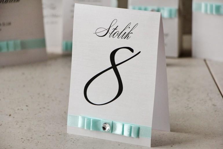 Numery stolików, stół weselny, ślub - Amaretto nr 6 - Perłowe z pastelową miętą
