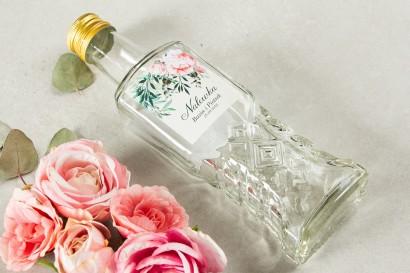 Ślubne Butelki na nalewki - Podziękowania dla Gości. Etykieta z różowymi piwoniami i różami