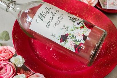 Ślubne Etykiety samoprzylepne na butelki z nadrukiem pastelowych dalii i białych anemonów