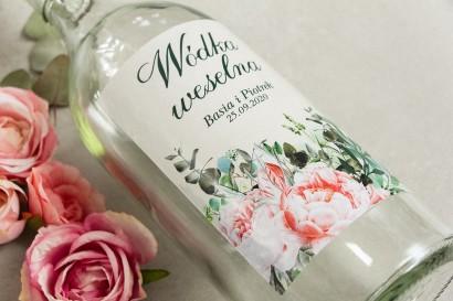 Ślubne Etykiety samoprzylepne na butelki z różowymi piwoniami i różami z dodatkiem gałązek eukaliptusa