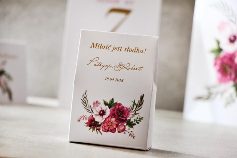 Pudełeczko na cukierki, podziękowania dla Gości weselnych - Cykade nr 5 ze złoceniem - Kwiaty w chłodnych odcieniach fioletu