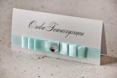 Winietki na stół weselny, ślub - Amaretto nr 6 - Elegancki papier z pastelową miętą, cyrkonia