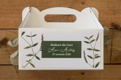 Prostokątne Pudełko na Ciasto weselne. Zielona gałązka na tle butelkowej zieleni