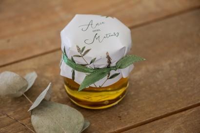 Miody - podziękowania, upominki dla gości weselnych. Kapturek z zieloną gałązką