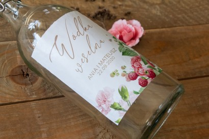 Ślubne Etykiety samoprzylepne na butelki z nadrukiem piwoni i mailn