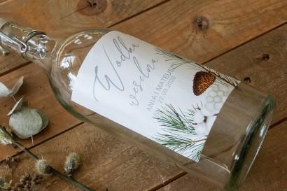 Ślubne Etykiety samoprzylepne na butelki z iglastymi gałązkami i delikatną bawełną