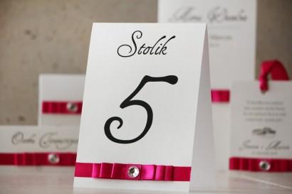 Numery stolików, stół weselny, ślub - Amaretto nr 8 - Perłowy len, intensywny amarant