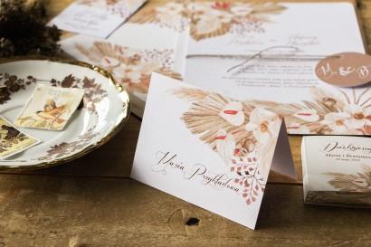Botaniczne Winietki ślubne, wizytówki z personalizacją na stół weselny z motywem trawy pampasowej