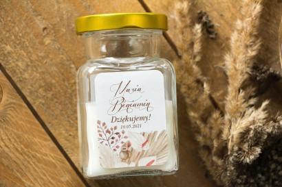 Świeczki - nowe podziękowania i upominki dla gości weselnych, ślubnych z motywem trawy pampasowej