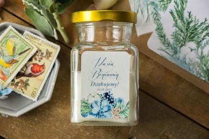 Świeczki - nowe podziękowania i upominki dla gości weselnych, ślubnych z motywem bawełny