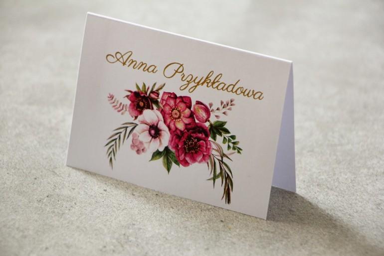 Winietki na stół weselny, ślub - Cykade nr 5 ze złoceniem - Intensywnie fioletowe kwiaty