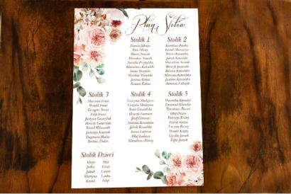 Weselny Plan Stołów w stylu botanicznym z kompozycją delikatnego, różowego bukietu