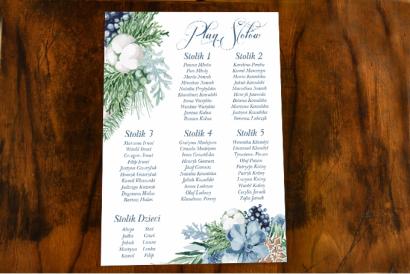 Weselny Plan Stołów w stylu botanicznym z motywem bawełny, piernika i niebiesko-zielonych gałązek