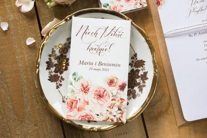 Podziękowania ślubne, nasionka niezapominajki na gości weselnych - Opakowanie  kompozycją delikatnego, różowego bukietu