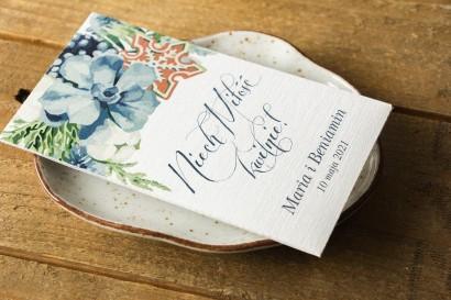 Podziękowania ślubne, nasionka niezapominajki na gości weselnych - Opakowanie z motywem bawełny