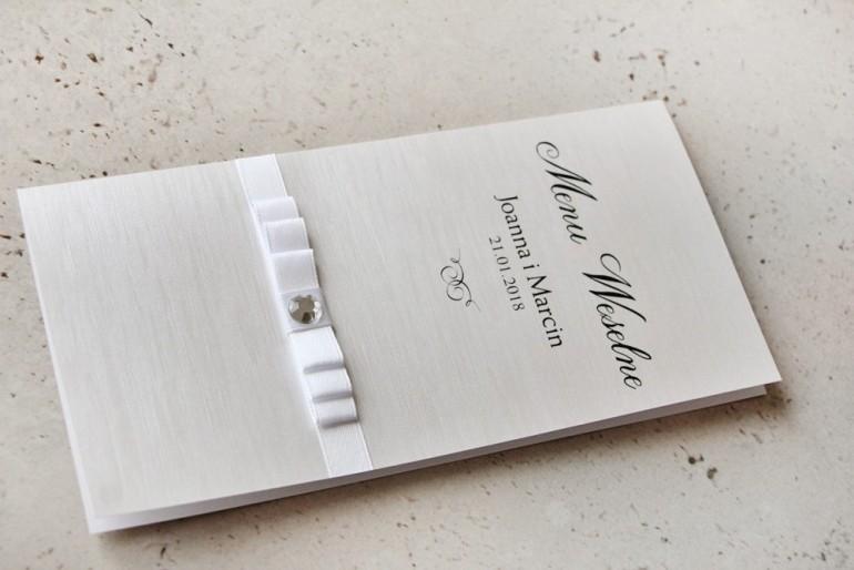 Menu weselne, stół weselny - Amaretto nr 9 - Papier perłowy z białą kokardką i cyrkonią