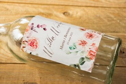 Ślubne Etykiety samoprzylepne na butelki z kompozycją delikatnego, różowego bukietu