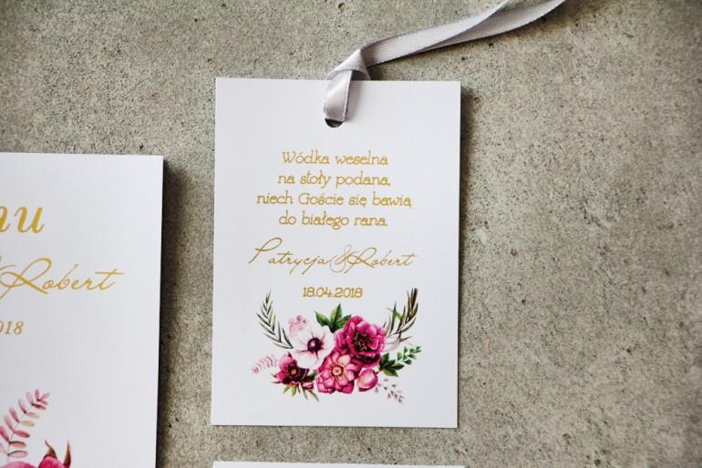 Zawieszka na butelkę, Wódka weselna, ślub - Cykade nr 5 ze złoceniem - Intensywnie fioletowe kwiaty