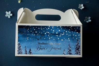 Prostokątne Pudełko na Ciasto Weselne w stylu glamour ze srebrzonymi kropeczkami i mieniącym się tekstem