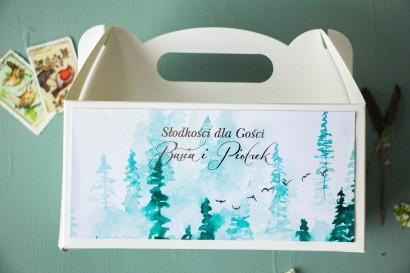 Prostokątne Pudełko na Ciasto Weselne w stylu glamour ze srebrzeniem oraz z akwarelowym motywem