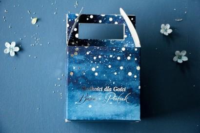 Kwadratowe Pudełko na Ciasto Weselne w stylu glamour ze srebrzonymi kropeczkami i mieniącym się tekstem