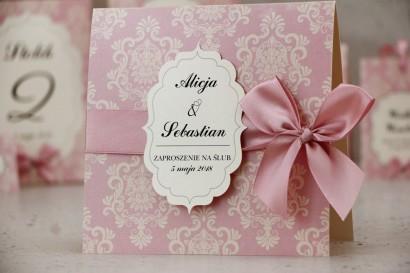 Zaproszenie ślubne perłowe z kokardką - Ornament nr 1 - Pudrowo różowe z kremowym złotem