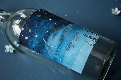 Etykiety samoprzylepne na butelki weselne, ślubne w stylu Glamour ze srebrzonymi kropeczkami i mieniącym się tekstem
