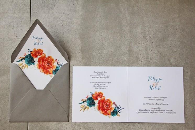 Wnętrze zaproszenia - Cykade nr 6 ze złoceniem - Pomarańczowe i szmaragdowe kwiaty